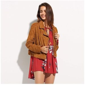 Jackets & Blazers - NWOT Motocyle Faux Suede Leather jacket In tan